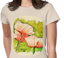 Pink Poppies - textured Womens Fitted T-Shirt