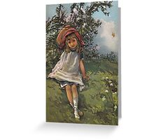 Little Girl At Play-Available As Art Prints-Mugs,Cases,Duvets,T Shirts,Stickers,etc Greeting Card