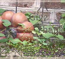 """Give Thanks"" Thanksgiving Day Card by Rebekah  McLeod"