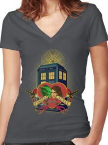 VASTRA AND JENNY LOVE  Women's Fitted V-Neck T-Shirt