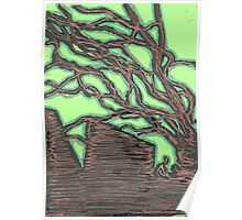 tree silhouettes (gold) Poster