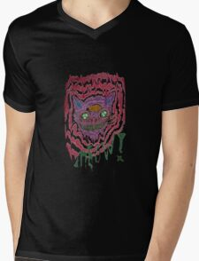 Psychedelic Cat Mens V-Neck T-Shirt