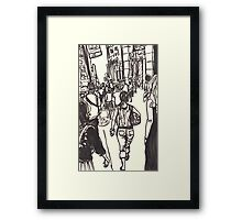 fashion avenue at morning rush hour Framed Print