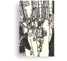fashion avenue at morning rush hour Canvas Print