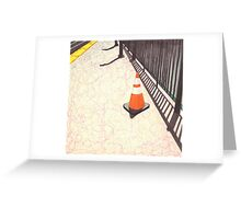 orange traffic cone Greeting Card