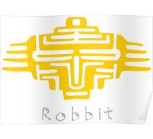 warrior bot (yellow) - paper cut pattern Poster