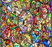 Colourful Disney Stained Glass Character Art Window Church by GoodCase
