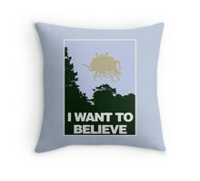 I Want to Believe in the Flying Spaghetti Monster Throw Pillow