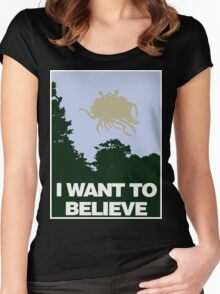 I Want to Believe in the Flying Spaghetti Monster Women's Fitted Scoop T-Shirt
