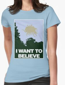 I Want to Believe in the Flying Spaghetti Monster Womens Fitted T-Shirt