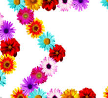 Phi Sigma Sigma Flower Letters Sticker