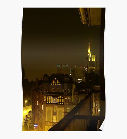 Frankfurt Night Streetscape 2 Poster