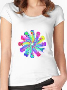 Colorful Electric Guitar Artwork Women's Fitted Scoop T-Shirt