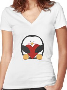 Valentine's Penguin holding heart Women's Fitted V-Neck T-Shirt