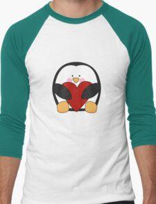 Valentine's Penguin holding heart Men's Baseball ¾ T-Shirt