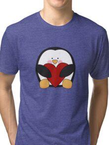 Valentine's Penguin holding heart Tri-blend T-Shirt