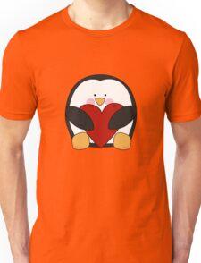 Valentine's Penguin holding heart Unisex T-Shirt