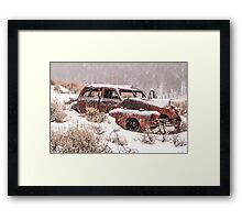 Auto in Snowstorm Framed Print