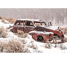 Auto in Snowstorm Photographic Print