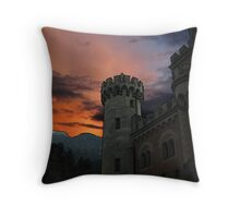 Outlined Castle Against Dramatic Sky Throw Pillow