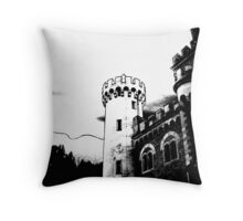 Outlined Castle in Black and White Throw Pillow