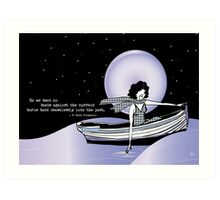 1920s Gatsby Flapper Girl Sea Boat Quote Art Print