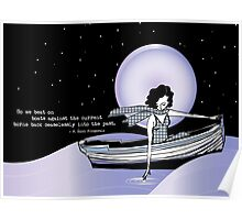 1920s Gatsby Flapper Girl Sea Boat Quote Poster