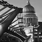 B&amp;W St.Pauls and Bridge by LeeMartinImages