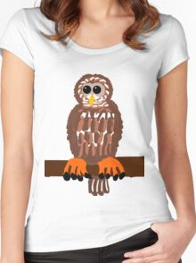 Barred Owl on a Branch  Women's Fitted Scoop T-Shirt