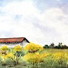 Oxford Barn and Yellow Flowers by LinFrye