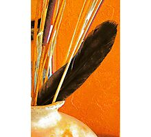 Pottery, Sticks and Feather Photographic Print