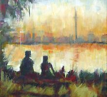 Toronto's Centre Island: Modern Impressionist semi-abstraction painting by Samuel Durkin