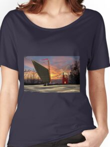 Norfolk Wherry and Windmill, Norfolk Broads Women's Relaxed Fit T-Shirt
