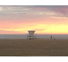 Perfect beach sunset, Lifeguard tower in California Photographic Print
