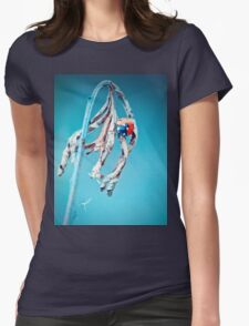 Ladybug crawling on a twig with blue background Womens T-Shirt