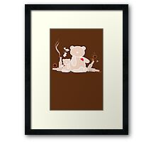 My wild night with Teddy Bear Framed Print