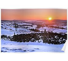 Winter Sunset on The Helm, Kendal - Cumbria Poster