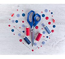 Sewing kit on a wooden table Photographic Print