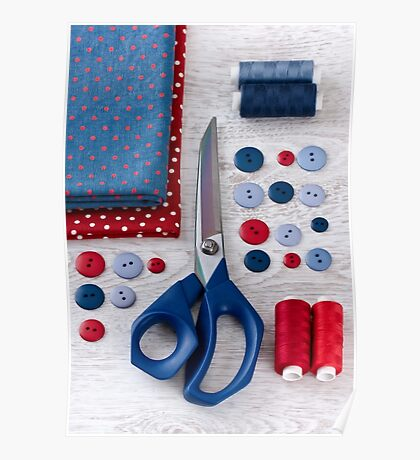 scissors, threads, fabric and buttons on wooden table Poster