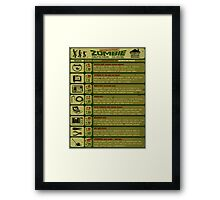 Zombie Defense Guide Framed Print