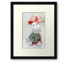 White hippo toy with textile and sewing accessory Framed Print