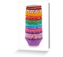 Colorful forms to make cupcakes from paper isolated over white background Greeting Card