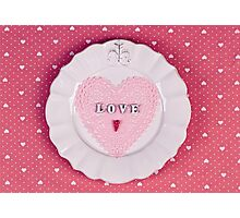 Romantic holiday table setting, on fabric heart pattern Photographic Print