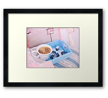 Cup of coffee on blue wooden tray with chocolate Framed Print