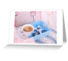 Cup of coffee on blue wooden tray with chocolate Greeting Card