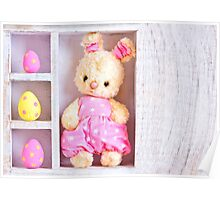 Rabbit bunny toy and easter eggs on the case  Poster
