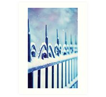 metal decorative fence fragment with snow Art Print