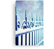 metal decorative fence fragment with snow Metal Print