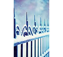 metal decorative fence fragment with snow Photographic Print