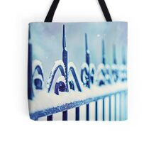 metal decorative fence fragment with snow Tote Bag